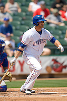 Round Rock Express DH Chris Davis (19) bats against the Iowa Cubs on April 10th, 2011 at Dell Diamond in Round Rock, Texas.  (Photo by Andrew Woolley / Four Seam Images)