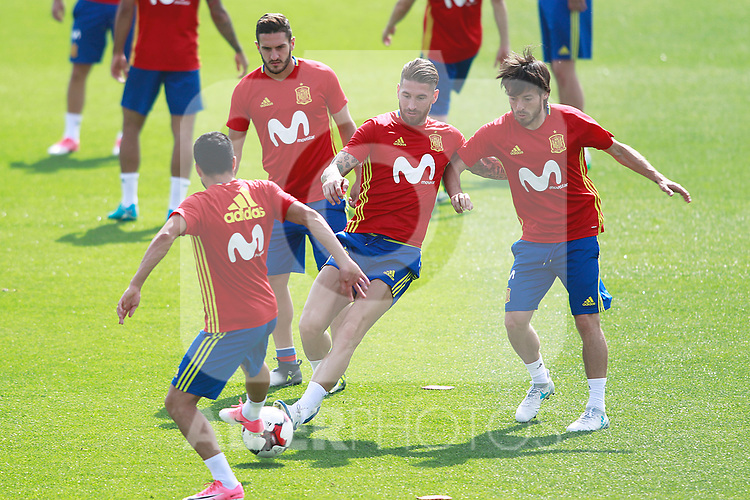 Spain's Pedro Rodriguez, Koke Resurrecccion, Sergio Ramos and David Jimenez Silva during training session. June 9,2017.(ALTERPHOTOS/Acero)