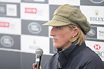 Ruth Edge at the Press Conference after day 1 of the dressage phase of the 2012 Land Rover Burghley Horse Trials in Stamford, Lincolnshire