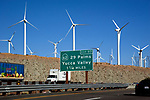 Wind mills next to freeway near 29 Palms en route to Palm Springs,California.