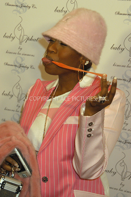 WWW.ACEPIXS.COM . . . . . ....NEW YORK, FEBRUARY 5, 2005....Missy Elliot at the Baby Phat Fall 2005 fashion show.....Please byline: KRISTIN CALLAHAN - ACE PICTURES.. . . . . . ..Ace Pictures, Inc:  ..Philip Vaughan (646) 769-0430..e-mail: info@acepixs.com..web: http://www.acepixs.com