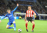 Jamie Vardy of Leicester City during the Premier League match between Leicester City v Sunderland played at King Power Stadium, Leicester on 4th April 2017.<br /> <br /> <br /> available via IPS Photo Agency/Rex Features  only