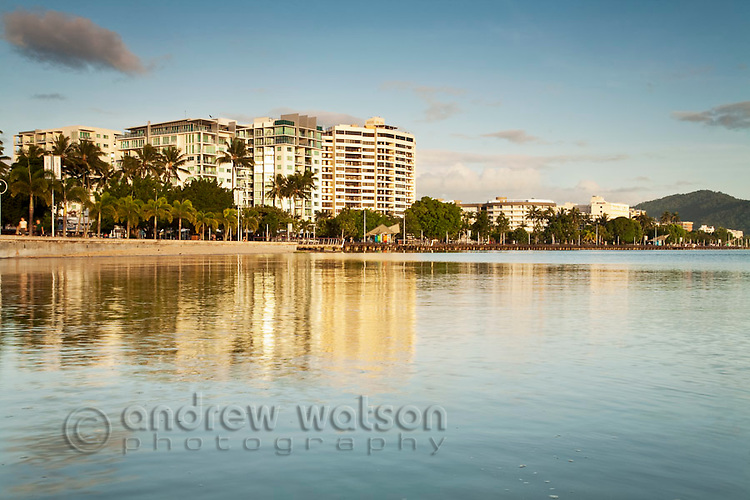 The Esplanade and city skyline at dawn.  Cairns, Queensland, Australia