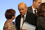 Jean-Yves Le Drian; France's President Emmanuel Macron and Italy's Prime Minister Paolo Gentiloni gives a press conference at the France Italy Summit - Vertice Italo-Francese - Sommet Franco-Italien, in Lyon on September 27, 2017.
