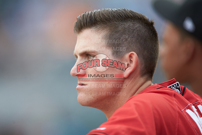 Kevin Newman (3) of the Indianapolis Indians watches the action from the dugout during the game against the Charlotte Knights at BB&T BallPark on May 26, 2018 in Charlotte, North Carolina. The Indians defeated the Knights 6-2.  (Brian Westerholt/Four Seam Images)