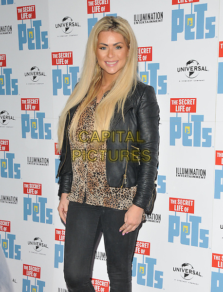 Nicola McLean at the &quot;The Secret Life of Pets&quot; UK 'Petmiere', Prince Charles cinema, Leicester Place, London, England, UK, on Saturday 12 November 2016. <br /> CAP/CAN<br /> &copy;CAN/Capital Pictures