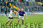 Kilmoyley's James Godley and Lixnaw's Jeremy McKenna in the Garveys Supervalu Senior County Hurling Championship Round 3 Kilmoyley V Lixnaw at Austin Stacks Park on Sunday