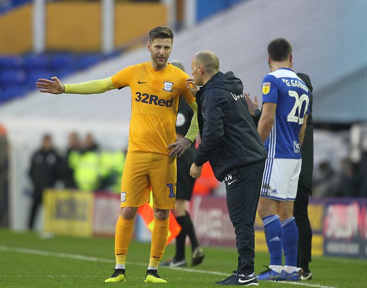 Preston North End's Manager Alex Neil talks to Preston North End's Paul Gallagher<br /> <br /> Photographer Mick Walker/CameraSport<br /> <br /> The EFL Sky Bet Championship - Birmingham City v Preston North End - Saturday 1st December 2018 - St Andrew's - Birmingham<br /> <br /> World Copyright © 2018 CameraSport. All rights reserved. 43 Linden Ave. Countesthorpe. Leicester. England. LE8 5PG - Tel: +44 (0) 116 277 4147 - admin@camerasport.com - www.camerasport.com