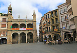 Plaza Mayor, town hall and restaurant, Plasencia, Caceres province, Extremadura, Spain