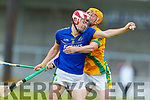 Jeremy McKenna Lixnaw in action against Robert Collins Kilmoyley during the Senior Kerry County Hurling Semi Finals between Lixnaw v Kilmoyley at Austin Stack park on Saturday last.