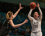 Idaho's Geraldine McCorkell, right, shoots over Portland State's Courtney West in a women's Big Sky Tournament semi-final game held at the Reno Events Center on Friday, March 9, 2018 in Reno, Nevada.