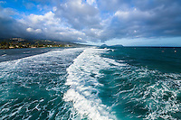 An aerial view of waves heading to the shore at Kahala, East O'ahu.