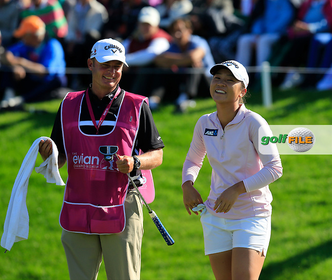 Lydia Ko (NZL) sinks her putt on the 18th green to win the Championship by 6 shots during Sunday's Final Round of the LPGA 2015 Evian Championship, held at the Evian Resort Golf Club, Evian les Bains, France. 13th September 2015.<br /> Picture Eoin Clarke | Golffile