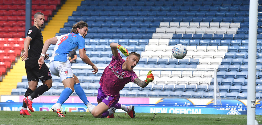 Blackburn Rovers' Sam Gallagher appears to score his team's first goal<br /> <br /> Photographer Dave Howarth/CameraSport<br /> <br /> The EFL Sky Bet Championship - Blackburn Rovers v Bristol City - Saturday 20th June 2020 - Ewood Park - Blackburn<br /> <br /> World Copyright © 2020 CameraSport. All rights reserved. 43 Linden Ave. Countesthorpe. Leicester. England. LE8 5PG - Tel: +44 (0) 116 277 4147 - admin@camerasport.com - www.camerasport.com