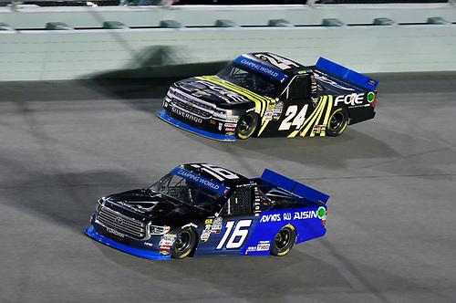 #16: Brett Moffitt, Hattori Racing Enterprises, Toyota Tundra AISIN Group and #24: Justin Haley, GMS Racing, Chevrolet Silverado Fraternal Order Of Eagles