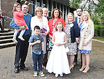 Aoibhinn Cunningham who received First Holy Communion in the Church of the Nativity Ardee pictured with her family. Photo:Colin Bell/pressphotos.ie