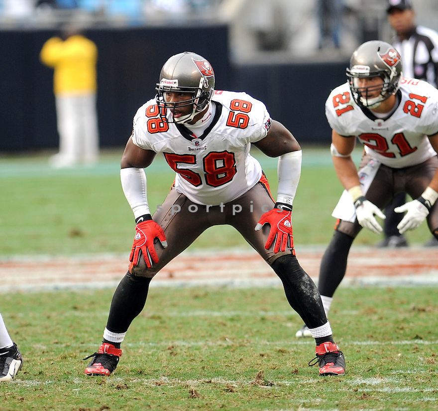 QUINCY BLACK of the Tampa Bay Buccaneers in action during the Buccaneers game against the Carolina Panthers on December 6, 2009 in Charlotte, North Carolina. Panthers won 16-6...