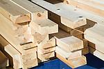 Lengths of timber in builders' yard