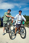 President Felipe Calderon of Mexico with Peter Greenberg on bicycles