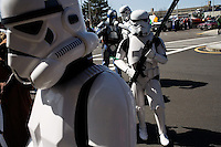 Members of the 501st New England Garrison Star Wars costuming fan club wait to start marching in the St. Patrick's Day Parade in South Boston, Massachusetts.