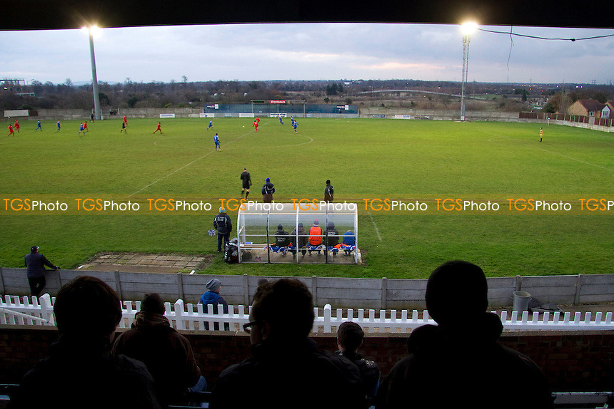 Spectators' view from the Main Stand at Aveley Football Club - Aveley vs Ilford - Ryman League Division One North Football at Mill Field, Aveley, Essex - 01/12/12 - MANDATORY CREDIT: David Bauckham / TGSPHOTO/ CENTRE CIRCLE PUBLISHING - contact@tgsphoto.co.uk - NO UNPAID USE.