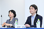 (L-R) Izumi Hayashi, Takeshi Natsuno, April 8, 2016 : <br /> The Tokyo 2020 Emblems Selection Committee unveiled Shortlisted Emblem designs in Tokyo, Japan. (Photo by Yohei Osada/AFLO SPORT)