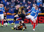 David Templeton battling with Alloa Athletic's Daryll Meggatt and Graeme Holmes