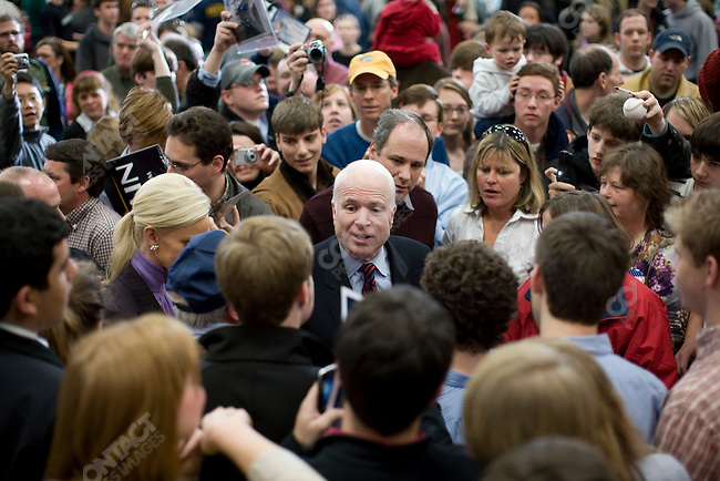 """Senator John McCain, Republican presidential candidate, attends a campaign rally in a push for """"Super Tuesday"""" votes. Nashville, Tennessee, February 2, 2008."""