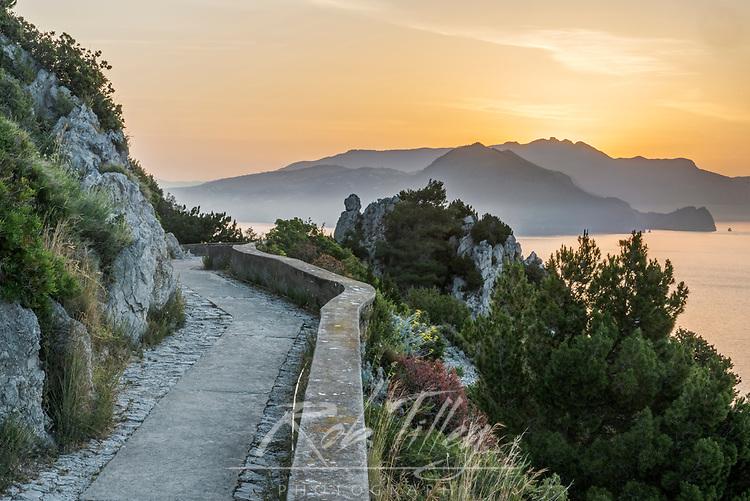 Europe, Italy, Isle of Capri, Sunrise Over the Sorrento Peninsula