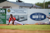 Batavia Muckdogs shortstop Samuel Castro (25) stretches for a throw as Dale Burdick (8) slides into second during a game against the Brooklyn Cyclones on July 4, 2016 at Dwyer Stadium in Batavia, New York.  Brooklyn defeated Batavia 5-1.  (Mike Janes/Four Seam Images)