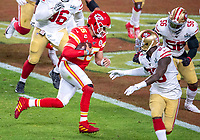 2nd February 2020, Miami Gardens, Florida, USA;  Kansas City Chiefs Quarterback Patrick Mahomes (15) runs the ball into the end zone to score a touchdown during the NFL Super Bowl LIV  game between the Kansas City Chiefs and the San Francisco 49ers at the Hard Rock Stadium in Miami Gardens