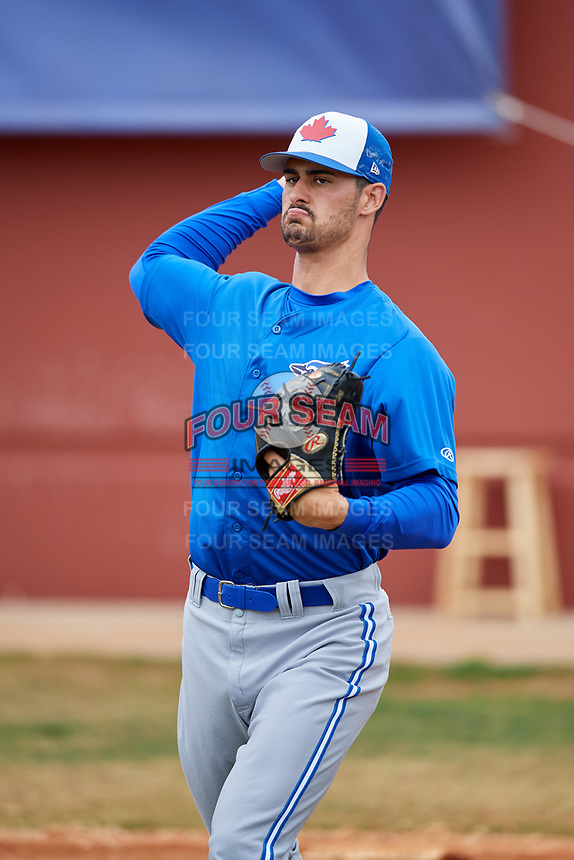 Toronto Blue Jays pitcher Andrew Deramo (62) during a Minor League Spring Training game against the Philadelphia Phillies on March 30, 2018 at Carpenter Complex in Clearwater, Florida.  (Mike Janes/Four Seam Images)