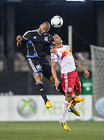 March 10th, 2013: Victor Bernardez and Tim Cahill jumps for the ball during a game at Buck Shaw Stadium, Santa Clara, Ca.   Earthquakes defeated Red Bulls 2-1
