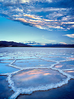 Salt poygons with water in them after rain storm. Death Valley National Park, California.