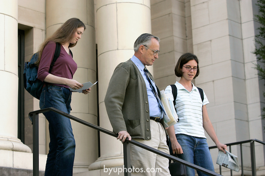September General Campus Scenics (GCS).Sep 2004..Photo by Mark Philbrick/BYU.Students talking with professor on the steps of the Maeser building.