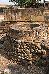 An ancient well in the ruins of the Old Testament city of Dan in the Tel Dan Nature Reserve in Galilee in northern Israel.