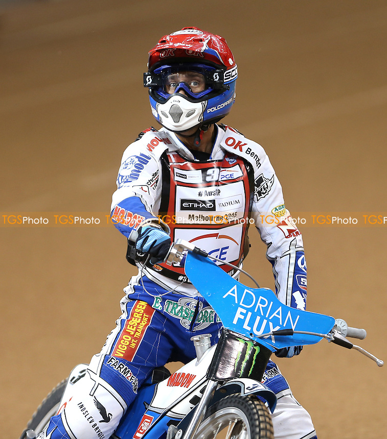Nicki Pedersen (red) celebrates after winning Heat 1 - British Speedway Grand Prix at the Millennium Stadium, Cardiff - 04/07/15 - MANDATORY CREDIT: Rob Newell/TGSPHOTO - Self billing applies where appropriate - 0845 094 6026 - contact@tgsphoto.co.uk - NO UNPAID USE