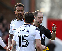 Derby County's Tom Huddlestone is sent off by Referee Jeremy Simpson<br /> <br /> Photographer Mick Walker/CameraSport<br /> <br /> The EFL Sky Bet Championship - Nottingham Forest v Derby County - Sunday 11th March 2018 - The City Ground - Nottingham<br /> <br /> World Copyright &copy; 2018 CameraSport. All rights reserved. 43 Linden Ave. Countesthorpe. Leicester. England. LE8 5PG - Tel: +44 (0) 116 277 4147 - admin@camerasport.com - www.camerasport.com
