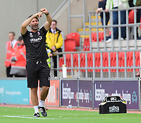 Lincoln City manager Danny Cowley points to his watch late in the game<br /> <br /> Photographer Chris Vaughan/CameraSport<br /> <br /> The EFL Sky Bet Championship - Rotherham United v Lincoln City - Saturday 10th August 2019 - New York Stadium - Rotherham<br /> <br /> World Copyright © 2019 CameraSport. All rights reserved. 43 Linden Ave. Countesthorpe. Leicester. England. LE8 5PG - Tel: +44 (0) 116 277 4147 - admin@camerasport.com - www.camerasport.com