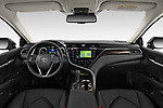 Stock photo of straight dashboard view of a 2019 Toyota Camry Premium 4 Door Sedan