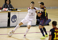Caja Segovia's Sergio Gonzalez (l) and FC Barcelona Alusport's Saad Assis during Spanish National Futsal League match.November 24,2012. (ALTERPHOTOS/Acero) /NortePhoto