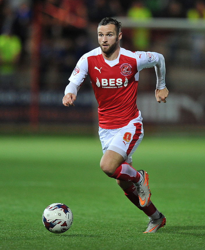Fleetwood Town's Jimmy Ryan on the ball<br /> <br /> Photographer Dave Howarth/CameraSport<br /> <br /> Football - Capital One Cup First Round - Fleetwood Town v Hartlepool United - Tuesday 11th August 2015 - Highbury Stadium - Fleetwood<br />  <br /> &copy; CameraSport - 43 Linden Ave. Countesthorpe. Leicester. England. LE8 5PG - Tel: +44 (0) 116 277 4147 - admin@camerasport.com - www.camerasport.com