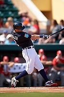 Detroit Tigers second baseman Ian Kinsler (3) at bat during an exhibition game against the Florida Southern Moccasins on February 29, 2016 at Joker Marchant Stadium in Lakeland, Florida.  Detroit defeated Florida Southern 7-2.  (Mike Janes/Four Seam Images)