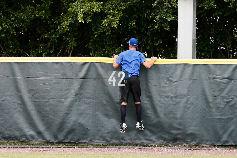 19 September 2012: France Quentin Pourcel is seen looking for a ball prior to Team France friendly game won 6-3 against Palm Beach State College, during the 2012 World Baseball Classic Qualifier round, in Lake Worth, Florida, USA.