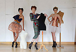 .Models, Asheena, wearing a design by Matthew Karp, from Limerick Senior College (left) with Naomi Cullen, wearing a design by Clarissa Hinz, from the LSAD and Sarah Morrissey, wearing a design Jialing Zhao, from Griffith College, Dublin (right), all of which are finalists in the running of 20 garments to win the Nokia Young Fashion Designer Award 2010. Pic. Robbie Reynolds/CPR