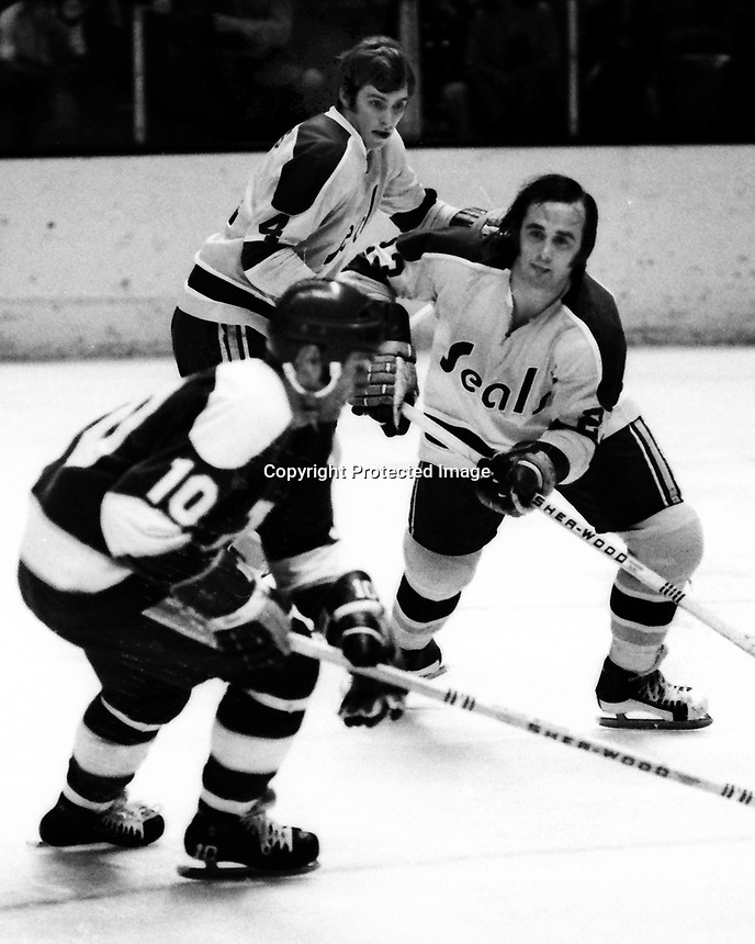Seals vs Minnesota North Stars 1972, Murray Oliver and Seals Darryl Maggs, and Ted McAneeley. (photo/Ron Riesterer)