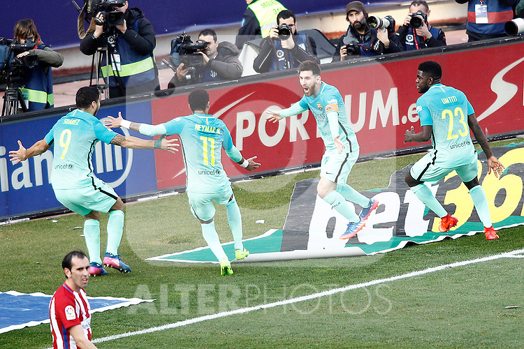 FC Barcelona's Luis Suarez, Neymar Santos Jr, Leo Messi and Samuel Umtiti celebrate goal during La Liga match. February 26,2017. (ALTERPHOTOS/Acero)