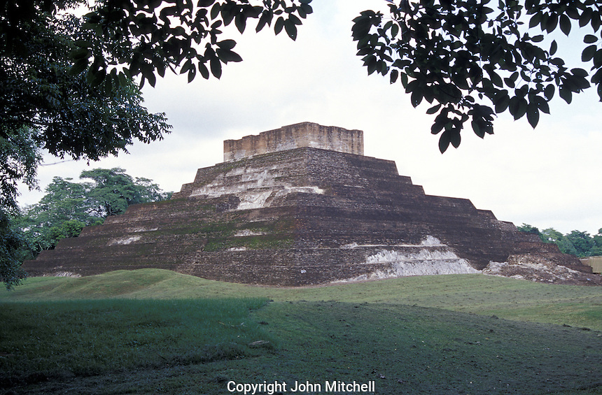 One of the unusual pyramids made of kilned bricks at the Mayan ruins of Comalcalco, Tabasco, Mexico.