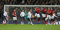 Tottenham Hotspur's Christian Eriksen with a second half free-kick<br /> <br /> Photographer Rob Newell/CameraSport<br /> <br /> The Premier League - Tottenham Hotspur v Manchester United - Sunday 13th January 2019 - Wembley Stadium - London<br /> <br /> World Copyright &copy; 2019 CameraSport. All rights reserved. 43 Linden Ave. Countesthorpe. Leicester. England. LE8 5PG - Tel: +44 (0) 116 277 4147 - admin@camerasport.com - www.camerasport.com