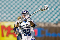 February 20, 2011:   Duke midfielder Terrence Molinari (32) during Lacrosse action between the Duke Blue Devils and Notre Dame Fighting Irish during the Moe's Southwest SunShine Classic played at EverBank Field in Jacksonville, Florida. Notre Dame defeated Duke 12-7.